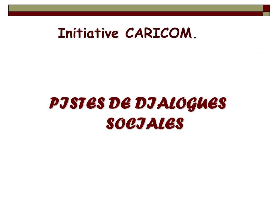 PISTES DE DIALOGUES SOCIALES Initiative CARICOM.
