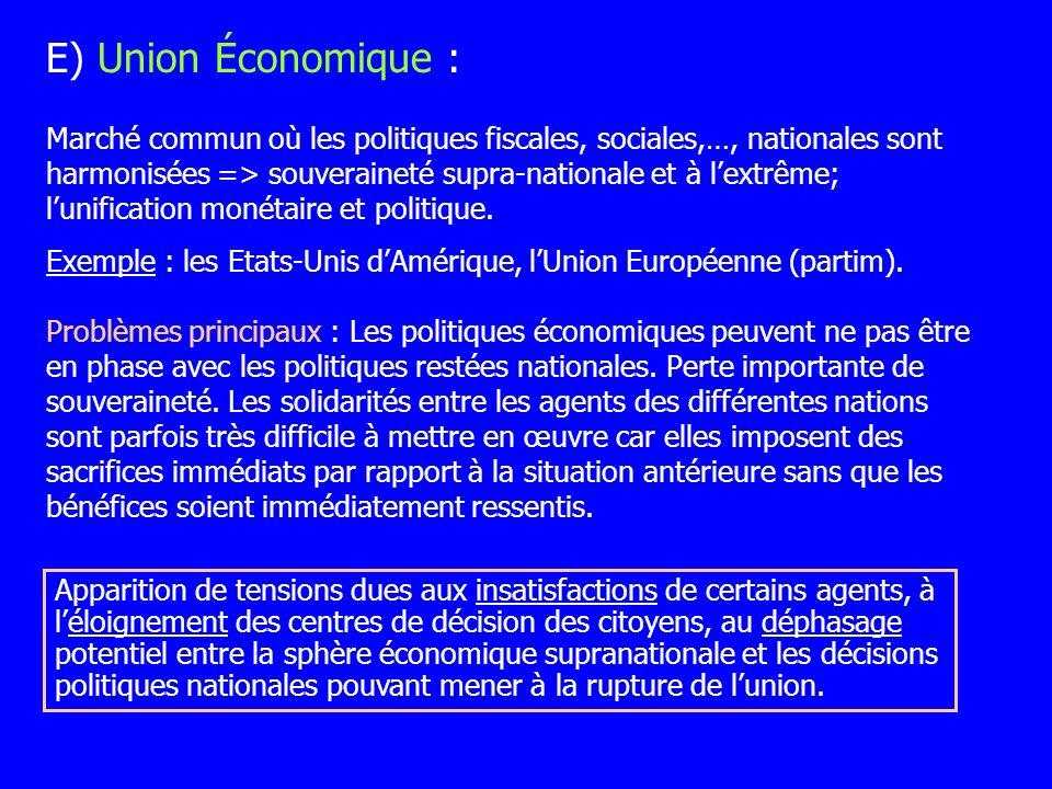 Marché commun où les politiques fiscales, sociales,…, nationales sont harmonisées => souveraineté supra-nationale et à lextrême; lunification monétair