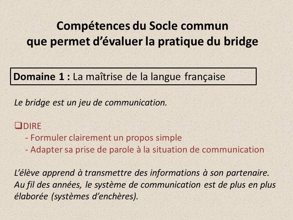 Compétences du Socle commun que permet dévaluer la pratique du bridge Domaine 1 : La maîtrise de la langue française Le bridge est un jeu de communication.
