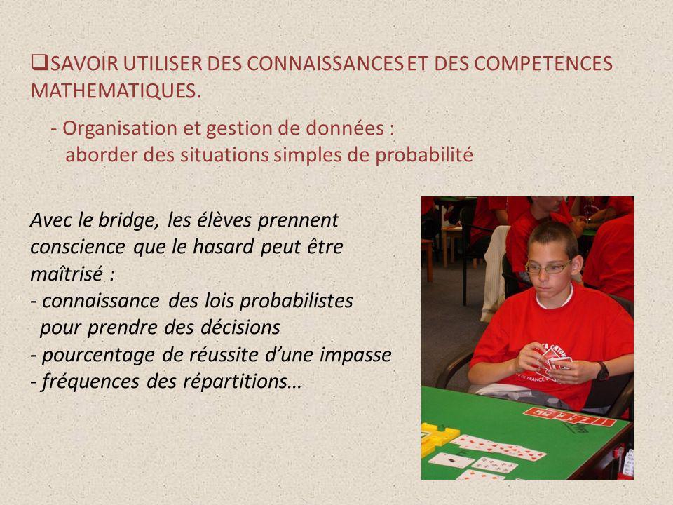 SAVOIR UTILISER DES CONNAISSANCES ET DES COMPETENCES MATHEMATIQUES.