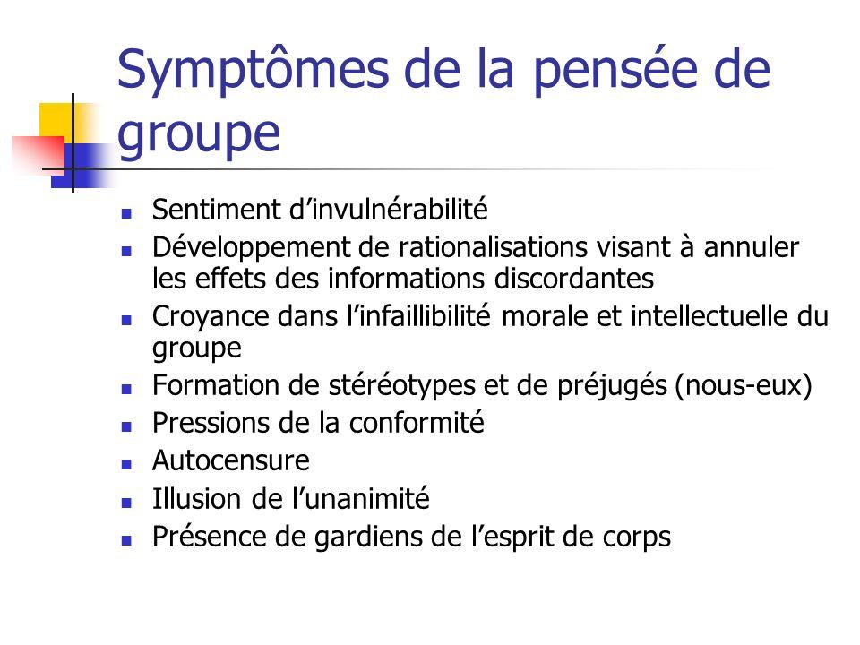 Symptômes de la pensée de groupe Sentiment dinvulnérabilité Développement de rationalisations visant à annuler les effets des informations discordante