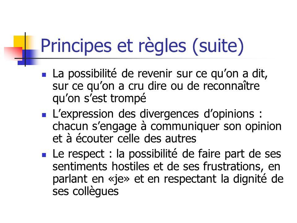 Principes et règles (suite) La possibilité de revenir sur ce quon a dit, sur ce quon a cru dire ou de reconnaître quon sest trompé Lexpression des div