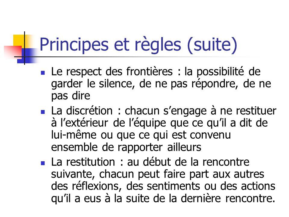 Principes et règles (suite) Le respect des frontières : la possibilité de garder le silence, de ne pas répondre, de ne pas dire La discrétion : chacun