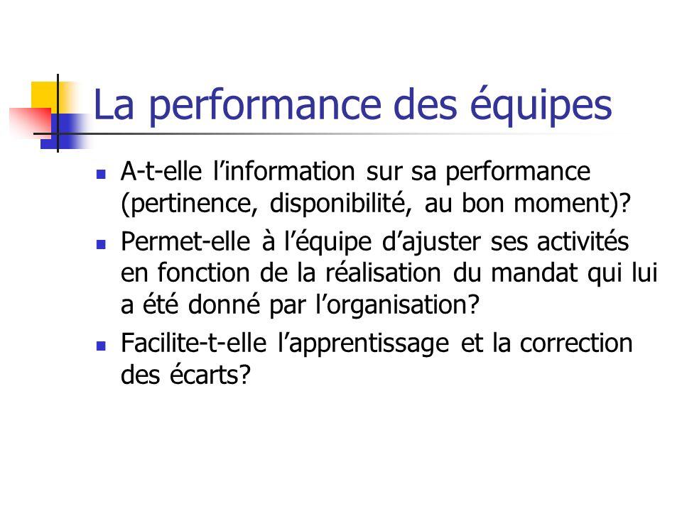 La performance des équipes A-t-elle linformation sur sa performance (pertinence, disponibilité, au bon moment)? Permet-elle à léquipe dajuster ses act