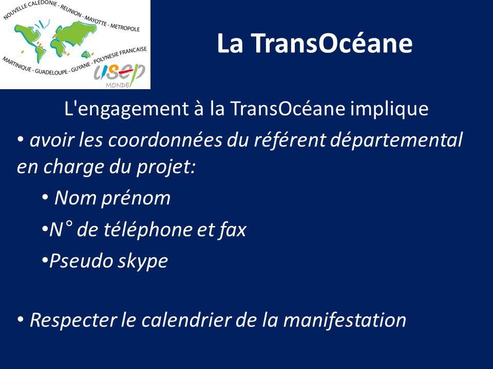 La TransOcéane L'engagement à la TransOcéane implique avoir les coordonnées du référent départemental en charge du projet: Nom prénom N° de téléphone