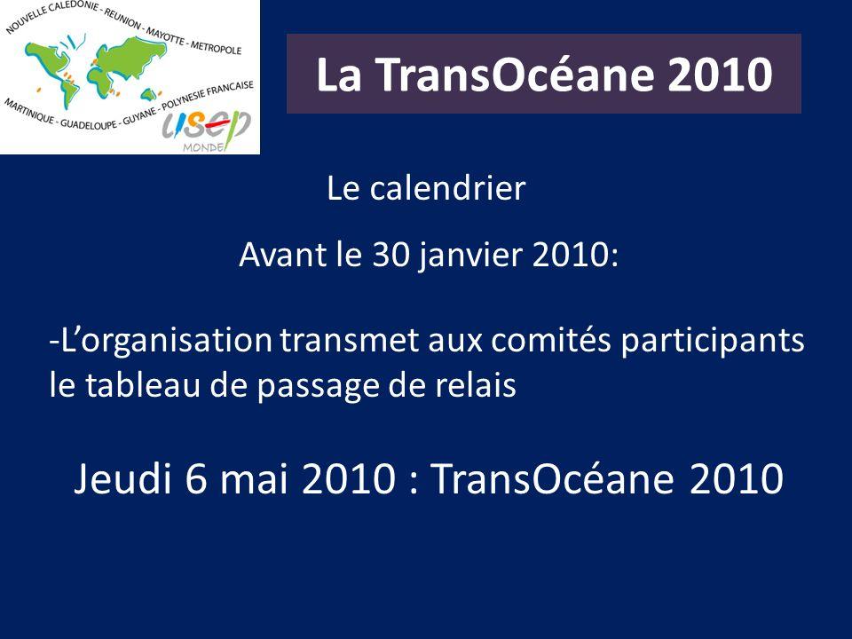 La TransOcéane 2010 Le calendrier Avant le 30 janvier 2010: -Lorganisation transmet aux comités participants le tableau de passage de relais Jeudi 6 m
