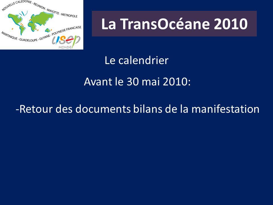 La TransOcéane 2010 Le calendrier Avant le 30 mai 2010: -Retour des documents bilans de la manifestation
