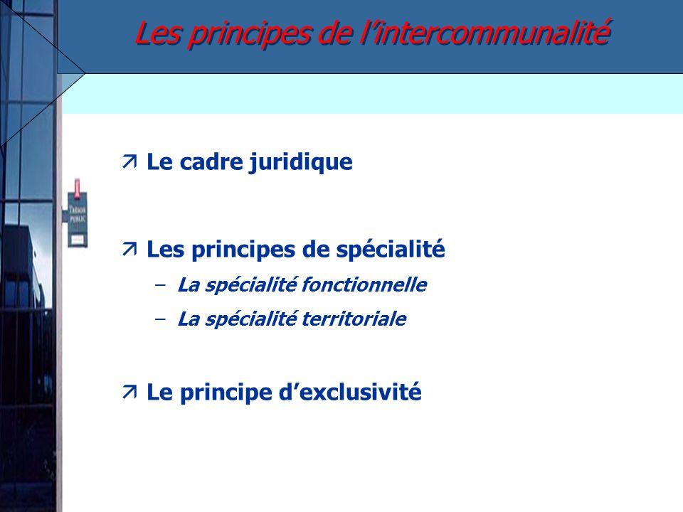 äLe cadre juridique äLes principes de spécialité –La spécialité fonctionnelle –La spécialité territoriale äLe principe dexclusivité Les principes de l