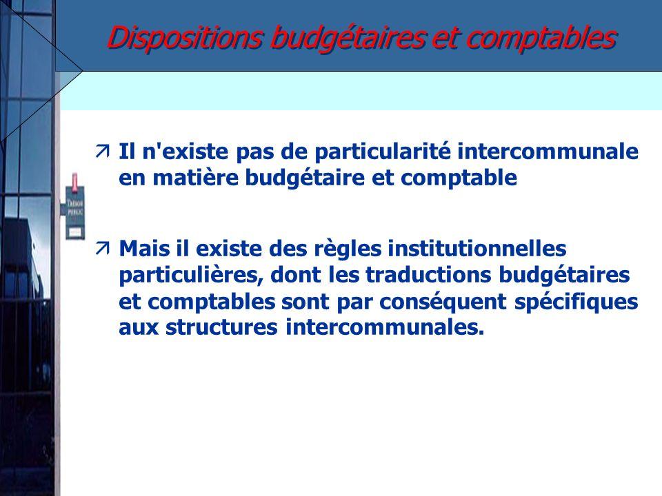 äIl n'existe pas de particularité intercommunale en matière budgétaire et comptable Mais il existe des règles institutionnelles particulières, dont le
