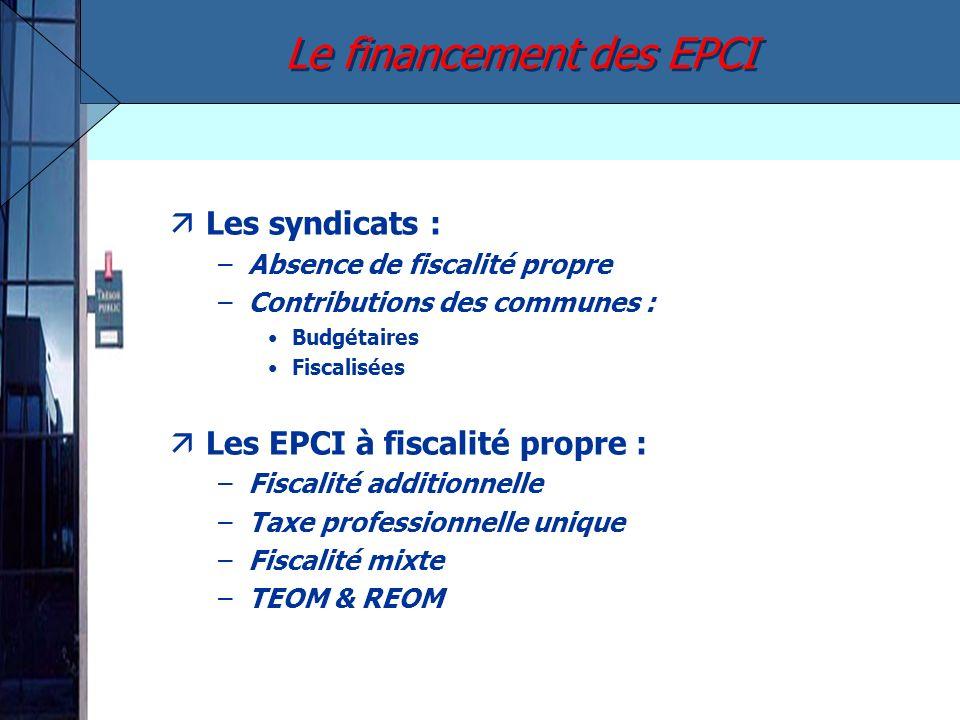 Les syndicats : –Absence de fiscalité propre –Contributions des communes : Budgétaires Fiscalisées äLes EPCI à fiscalité propre : –Fiscalité additionn