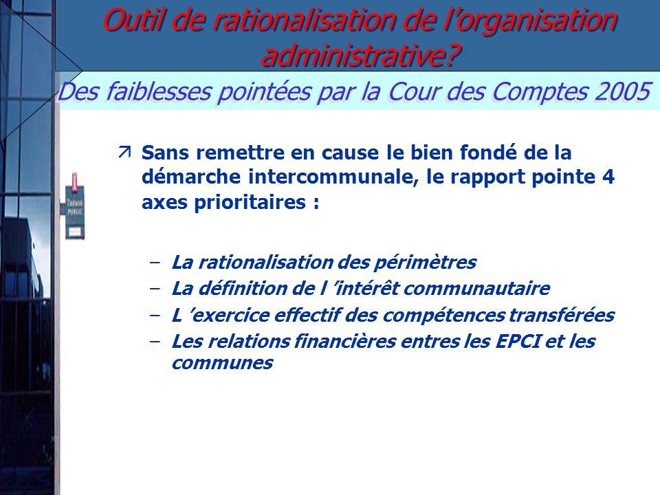 Des faiblesses pointées par la Cour des Comptes 2005 Sans remettre en cause le bien fondé de la démarche intercommunale, le rapport pointe 4 axes prio