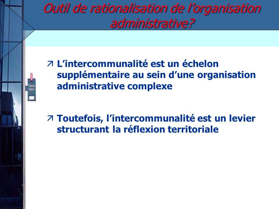 äLintercommunalité est un échelon supplémentaire au sein dune organisation administrative complexe äToutefois, lintercommunalité est un levier structurant la réflexion territoriale Outil de rationalisation de lorganisation administrative