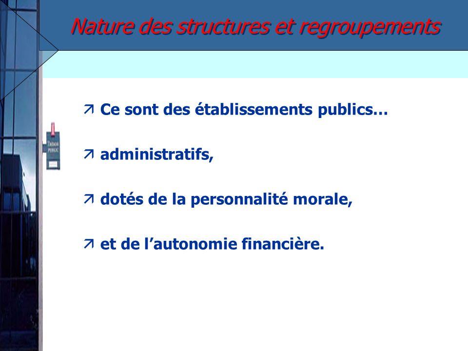 äCe sont des établissements publics… äadministratifs, ädotés de la personnalité morale, äet de lautonomie financière. Nature des structures et regroup