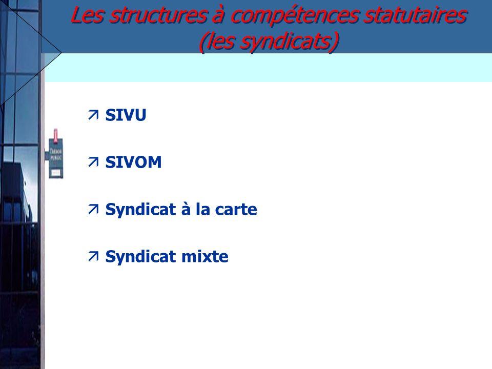 äSIVU äSIVOM äSyndicat à la carte äSyndicat mixte Les structures à compétences statutaires (les syndicats)