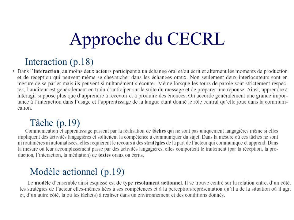 Approche du CECRL Interaction (p.18) Tâche (p.19) Modèle actionnel (p.19)
