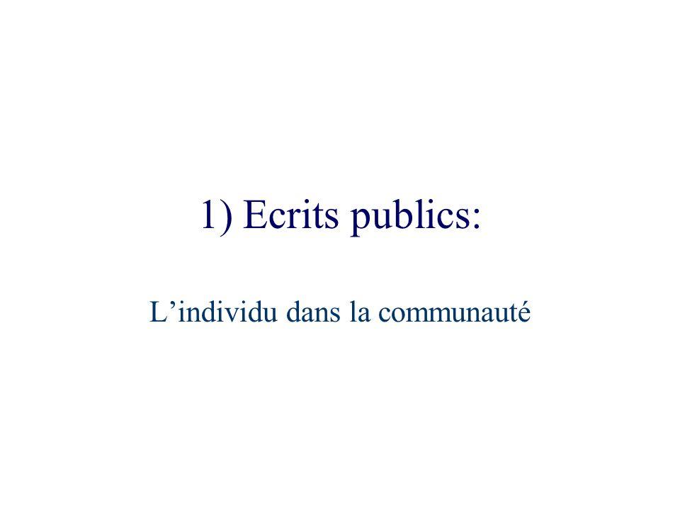 1) Ecrits publics: Lindividu dans la communauté
