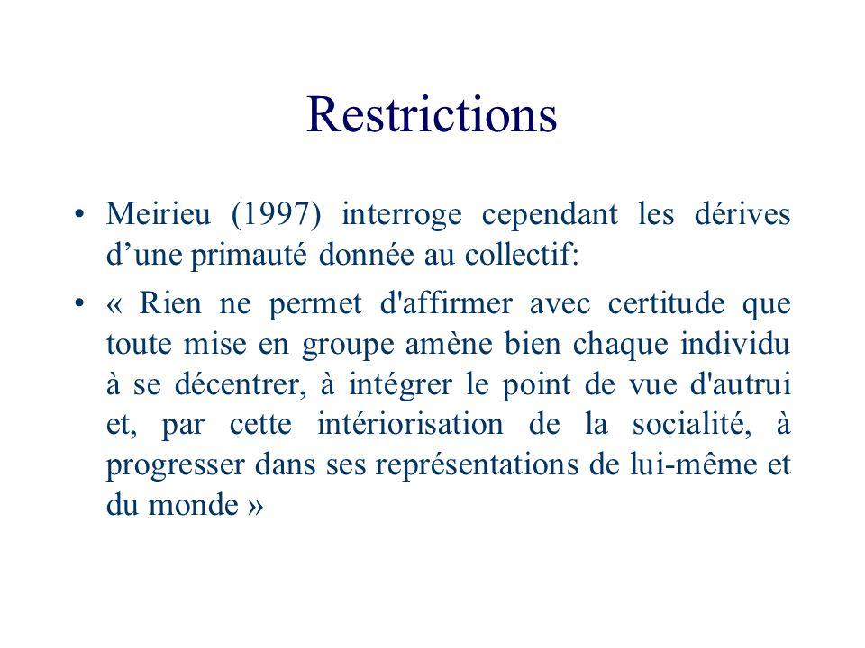 Restrictions Meirieu (1997) interroge cependant les dérives dune primauté donnée au collectif: « Rien ne permet d'affirmer avec certitude que toute mi