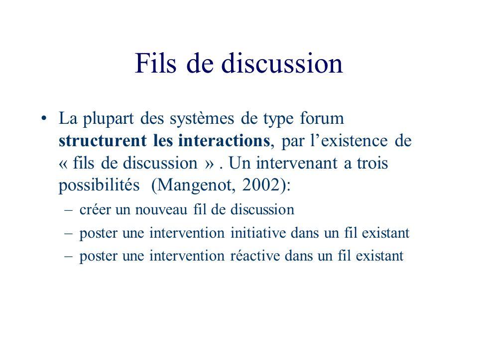 Fils de discussion La plupart des systèmes de type forum structurent les interactions, par lexistence de « fils de discussion ». Un intervenant a troi
