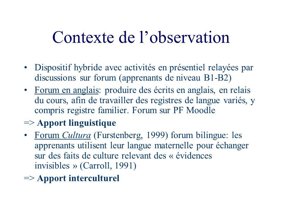 Contexte de lobservation Dispositif hybride avec activités en présentiel relayées par discussions sur forum (apprenants de niveau B1-B2) Forum en angl