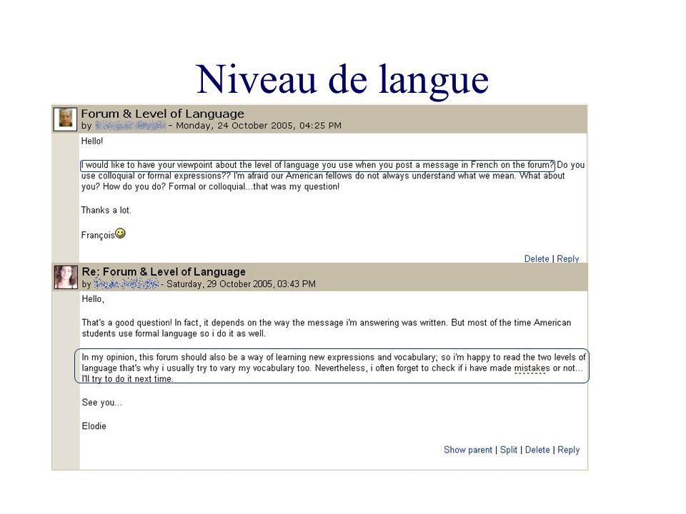 Niveau de langue