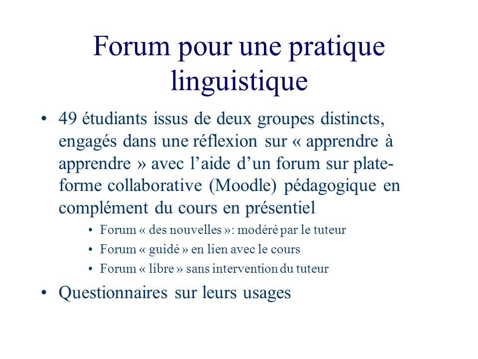 Forum pour une pratique linguistique 49 étudiants issus de deux groupes distincts, engagés dans une réflexion sur « apprendre à apprendre » avec laide
