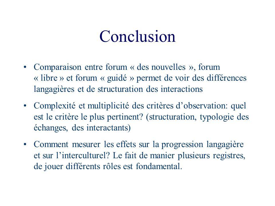 Conclusion Comparaison entre forum « des nouvelles », forum « libre » et forum « guidé » permet de voir des différences langagières et de structuratio