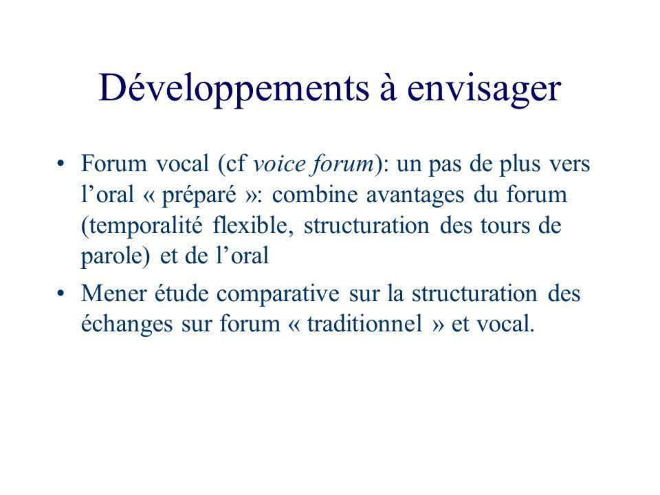 Développements à envisager Forum vocal (cf voice forum): un pas de plus vers loral « préparé »: combine avantages du forum (temporalité flexible, stru