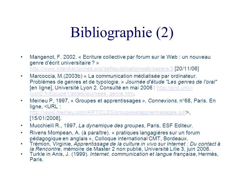 Bibliographie (2) Mangenot, F. 2002. « Ecriture collective par forum sur le Web : un nouveau genre d'écrit universitaire ? » http://www.interdisciplin