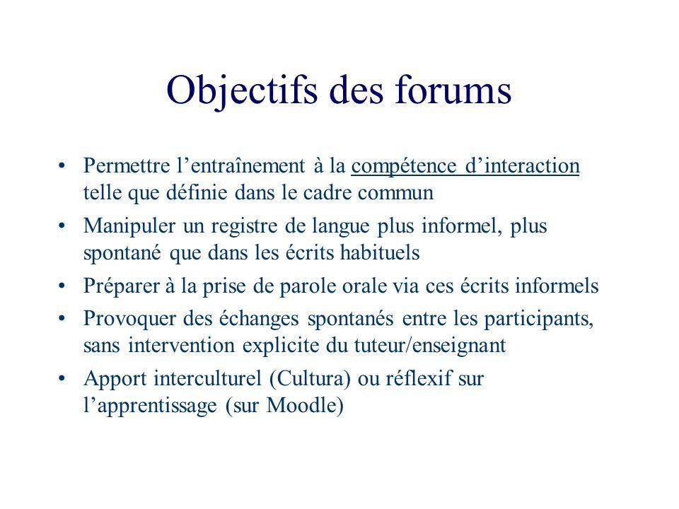 Objectifs des forums Permettre lentraînement à la compétence dinteraction telle que définie dans le cadre commun Manipuler un registre de langue plus