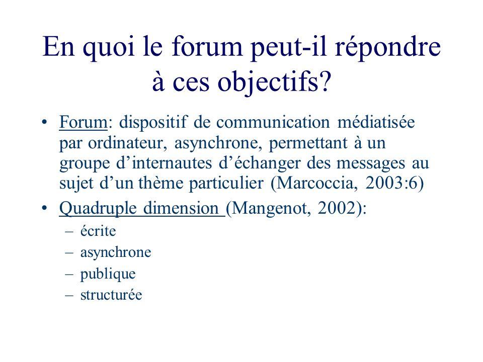 En quoi le forum peut-il répondre à ces objectifs? Forum: dispositif de communication médiatisée par ordinateur, asynchrone, permettant à un groupe di