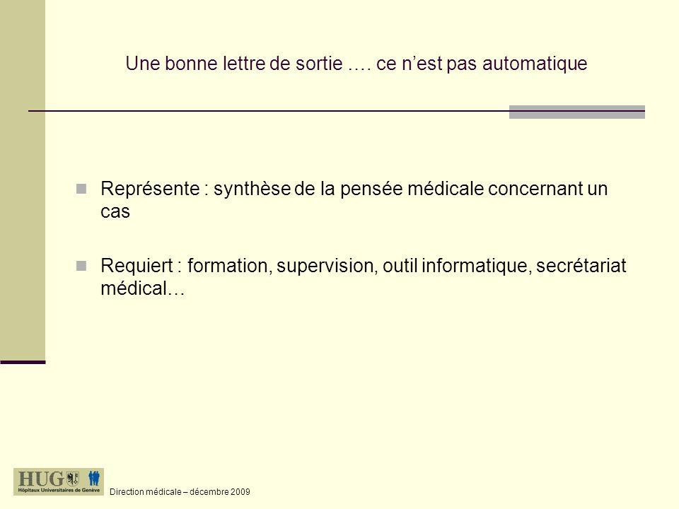Direction médicale – décembre 2009 pour preuve…..cest … ce nest pas….