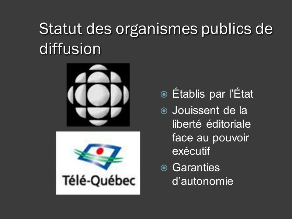 Statut des organismes publics de diffusion Établis par lÉtat Jouissent de la liberté éditoriale face au pouvoir exécutif Garanties dautonomie
