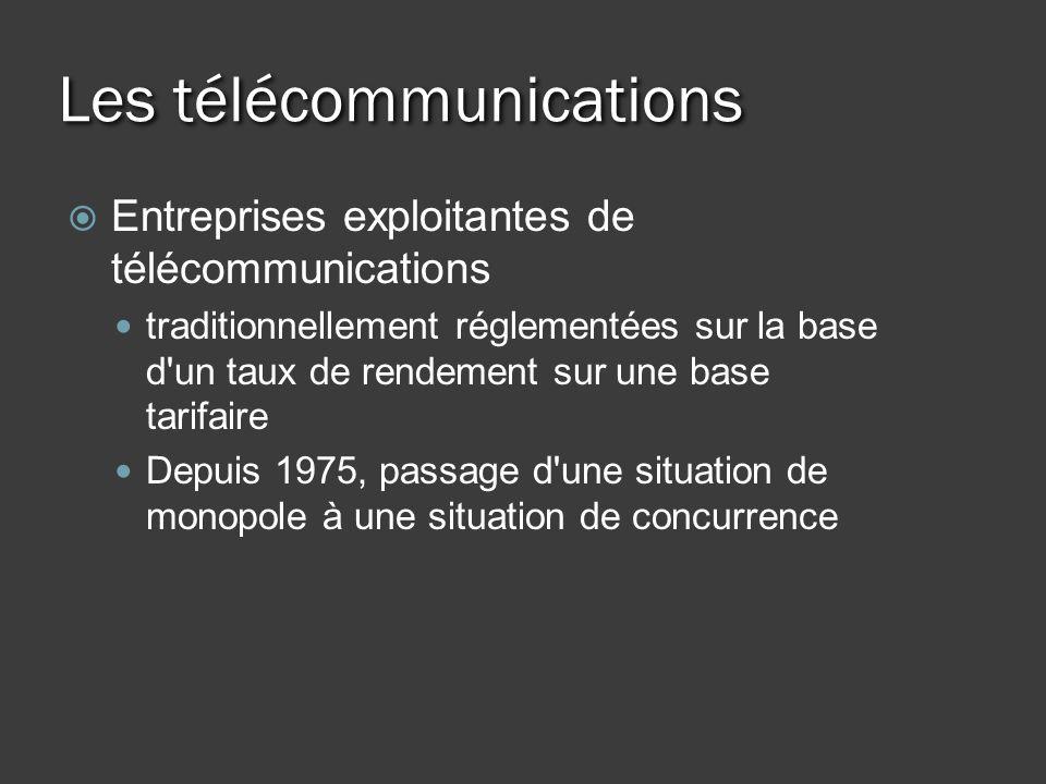 Les télécommunications Entreprises exploitantes de télécommunications traditionnellement réglementées sur la base d un taux de rendement sur une base tarifaire Depuis 1975, passage d une situation de monopole à une situation de concurrence