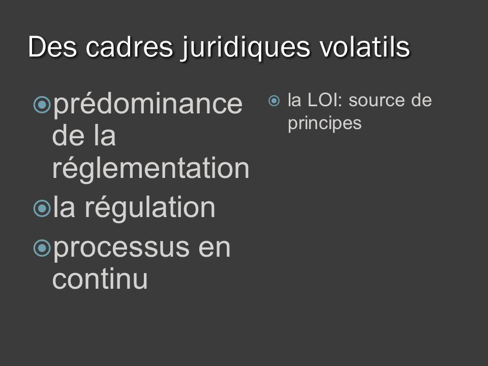 Des cadres juridiques volatils prédominance de la réglementation la régulation processus en continu la LOI: source de principes