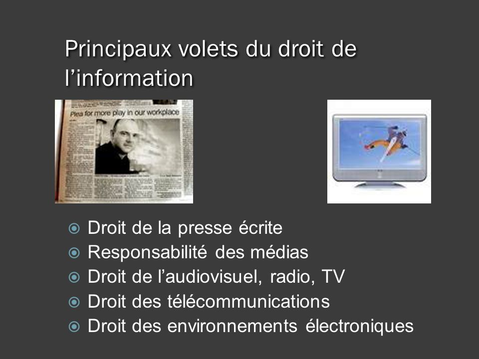 Principaux volets du droit de linformation Droit de la presse écrite Responsabilité des médias Droit de laudiovisuel, radio, TV Droit des télécommunications Droit des environnements électroniques