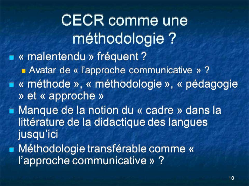 10 CECR comme une méthodologie ? « malentendu » fréquent ? Avatar de « lapproche communicative » ? « méthode », « méthodologie », « pédagogie » et « a