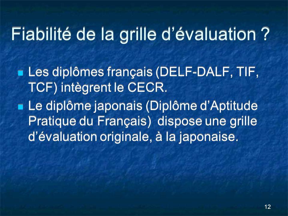 12 Fiabilité de la grille dévaluation ? Les diplômes français (DELF-DALF, TIF, TCF) intègrent le CECR. Le diplôme japonais (Diplôme dAptitude Pratique