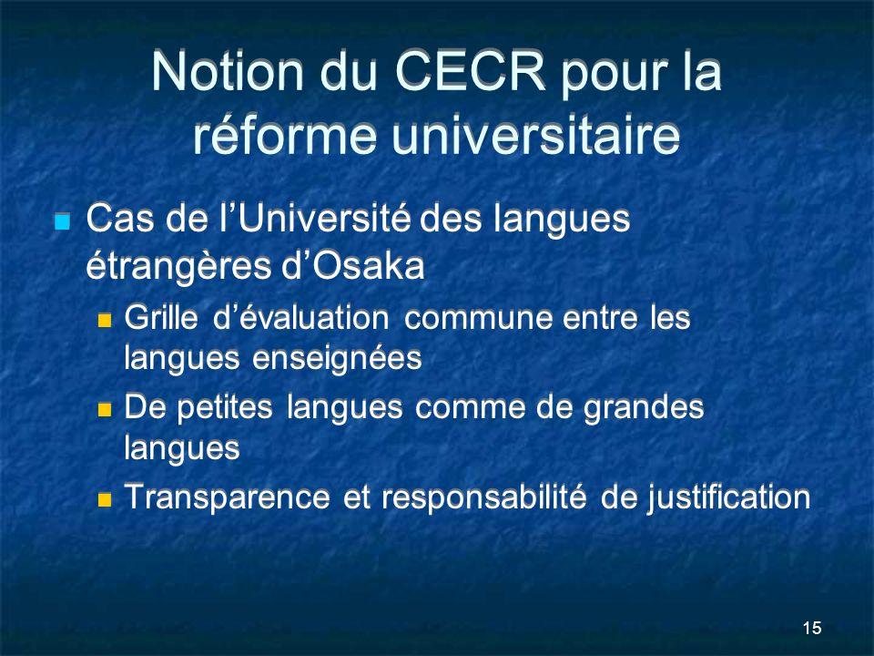 15 Notion du CECR pour la réforme universitaire Cas de lUniversité des langues étrangères dOsaka Grille dévaluation commune entre les langues enseigné
