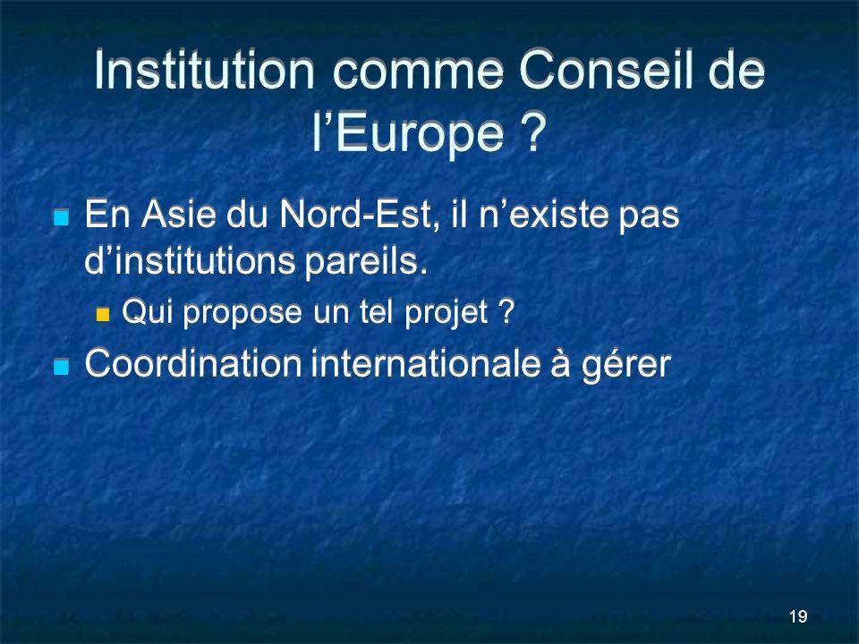19 Institution comme Conseil de lEurope ? En Asie du Nord-Est, il nexiste pas dinstitutions pareils. Qui propose un tel projet ? Coordination internat