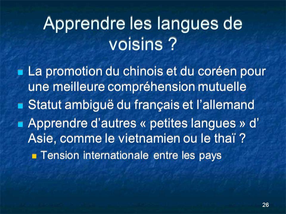 26 Apprendre les langues de voisins ? La promotion du chinois et du coréen pour une meilleure compréhension mutuelle Statut ambiguë du français et lal