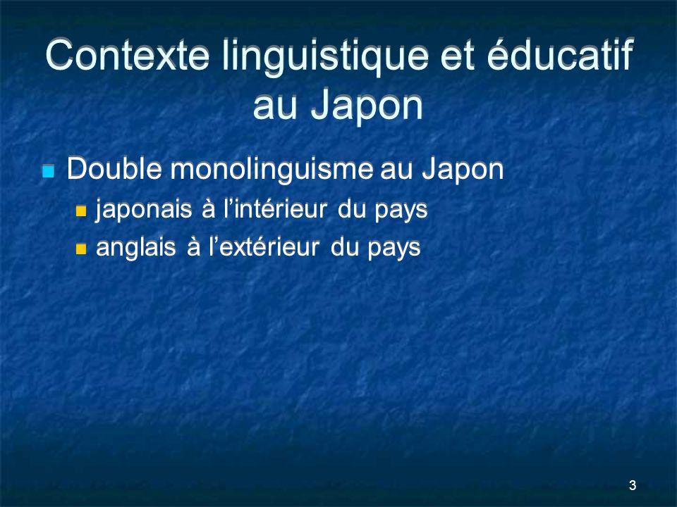 3 Contexte linguistique et éducatif au Japon Double monolinguisme au Japon japonais à lintérieur du pays anglais à lextérieur du pays Double monolingu