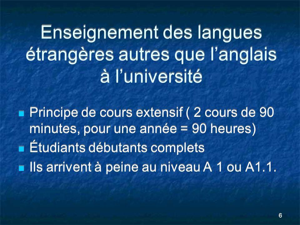 6 Enseignement des langues étrangères autres que langlais à luniversité Principe de cours extensif ( 2 cours de 90 minutes, pour une année = 90 heures