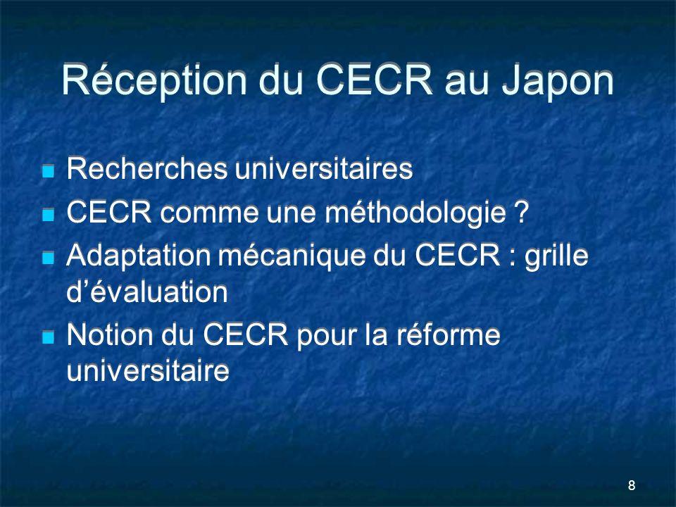 9 Recherches universitaires sur le CECR Traduction japonaise en 2004 Comparaison entre la politique linguistique et éducative en Europe et lenseignement des langues étrangères au Japon Différence du contexte linguistique Les Japonais ont-ils besoin de langues étrangères pour la vie professionnelle et personnelle .