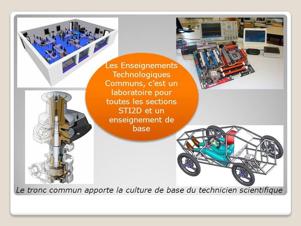 Le tronc commun apporte la culture de base du technicien scientifique Les Enseignements Technologiques Communs, cest un laboratoire pour toutes les sections STI2D et un enseignement de base