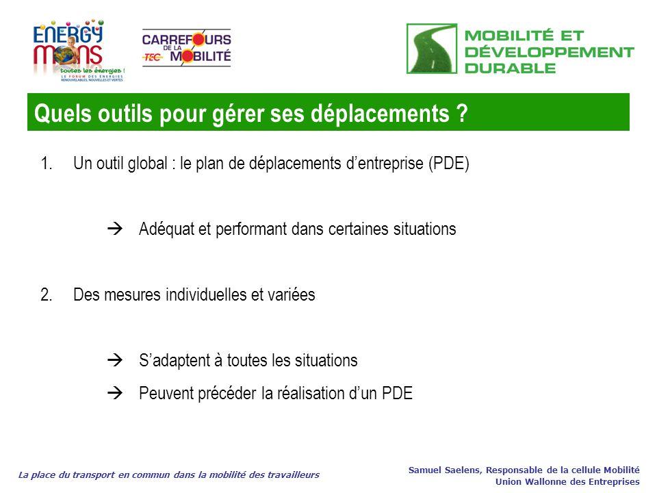 La place du transport en commun dans la mobilité des travailleurs Samuel Saelens, Responsable de la cellule Mobilité Union Wallonne des Entreprises 1.
