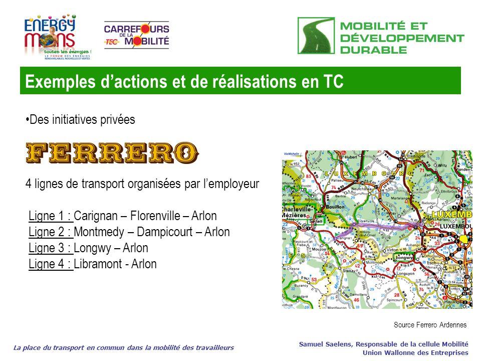 Exemples dactions et de réalisations en TC La place du transport en commun dans la mobilité des travailleurs Samuel Saelens, Responsable de la cellule