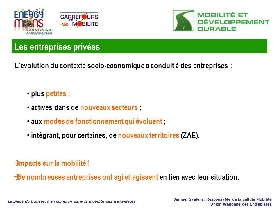La place du transport en commun dans la mobilité des travailleurs Samuel Saelens, Responsable de la cellule Mobilité Union Wallonne des Entreprises Lé