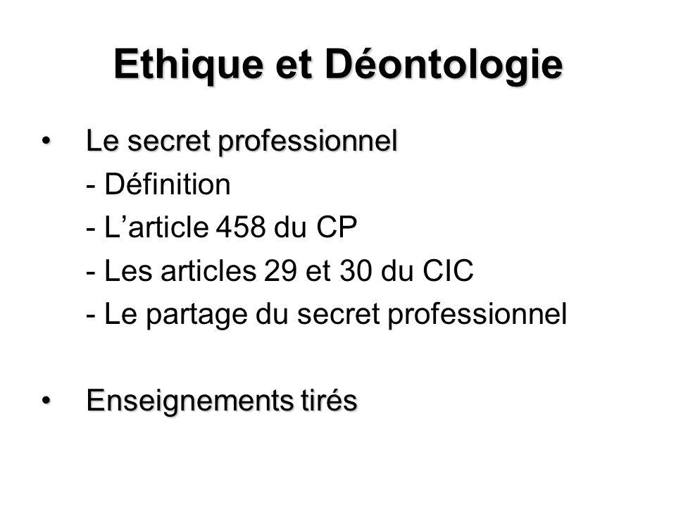 Ethique et Déontologie Le secret professionnelLe secret professionnel - Définition - Larticle 458 du CP - Les articles 29 et 30 du CIC - Le partage du