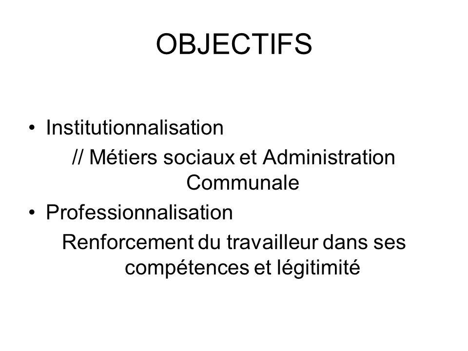 OBJECTIFS Institutionnalisation // Métiers sociaux et Administration Communale Professionnalisation Renforcement du travailleur dans ses compétences e