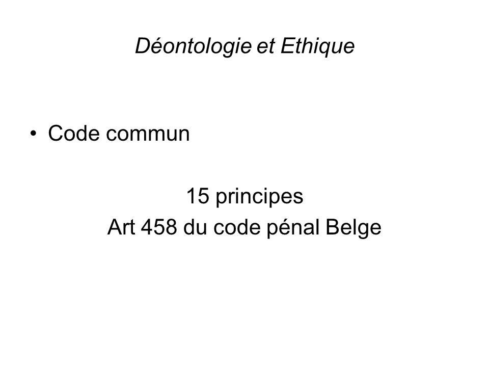 Déontologie et Ethique Code commun 15 principes Art 458 du code pénal Belge